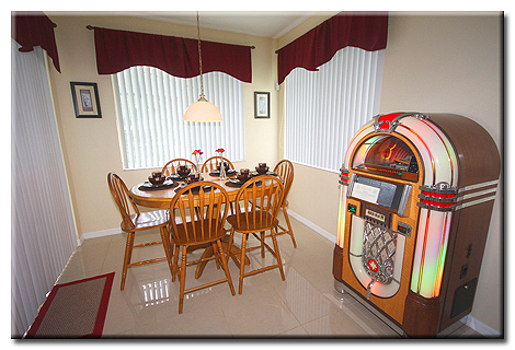Dining Area & Origional Rock-Ola Bubbler Jukebox